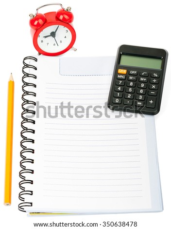 Alarm clock with copybook and pencil on isolated white background
