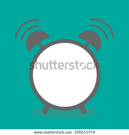 Alarm clock with empty center. Template. Flat design.  - stock photo