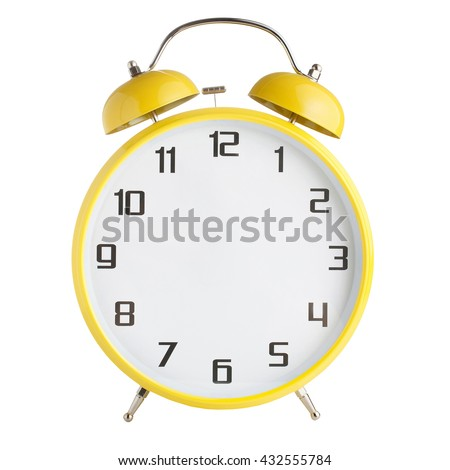 Alarm clock with no hands isolated on white background - stock photo