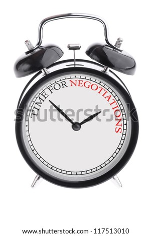 Alarm clock with the inscription Time for negotiations