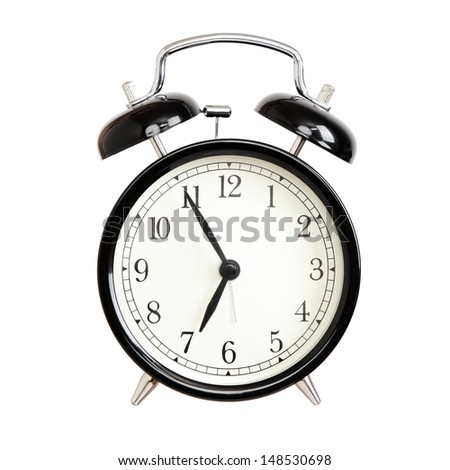 Alarm clocks - black bell alarm clock isolated on white background. - stock photo