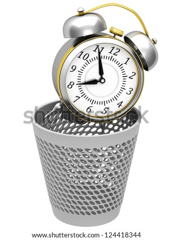 Alarm clocks in trash bin - stock photo