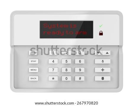 Alarm control panel isolated on white background - stock photo