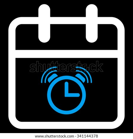 Alarm Date glyph icon. Style is bicolor flat symbol, blue and white colors, rounded angles, black background. - stock photo