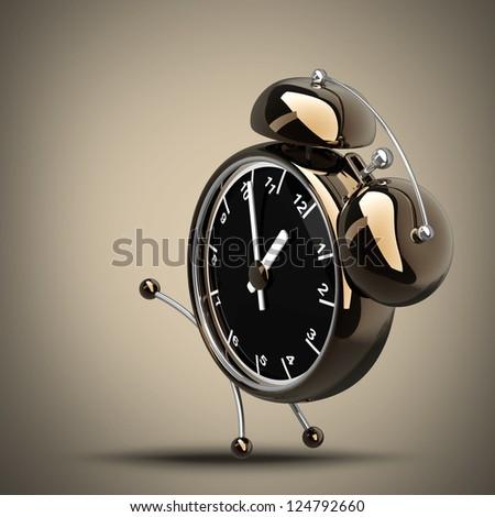 Alarm Golden clock. High resolution 3d render - stock photo