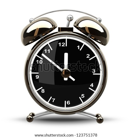 Alarm Golden clock isolated on a white background. High resolution 3d render - stock photo