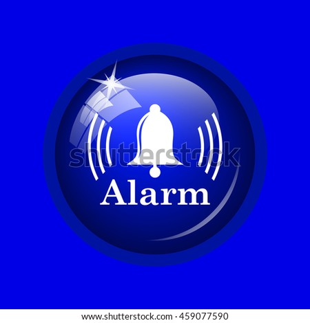 Alarm icon. Internet button on blue background.