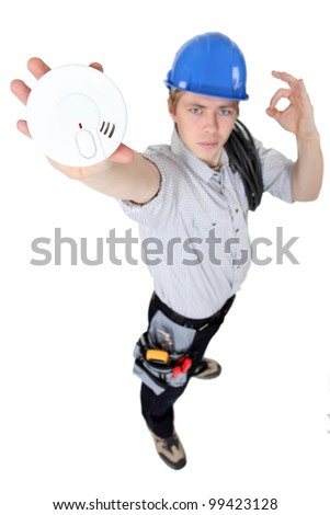 Alarm Installer - stock photo