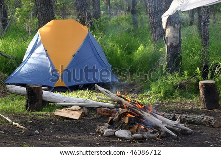 Alaska campsite - stock photo