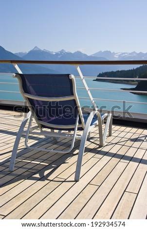 Alaska - Enjoy Haines - Relaxing On The Deck Of The Cruise Ship - Travel Destination  / Alaska - Haines - Relaxing On The Deck Of The Cruise Ship - stock photo