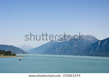 Alaska - Enjoy The Beautiful View Of Haines Borough - Travel Destination / Alaska - Enjoy The View Of Haines - stock photo