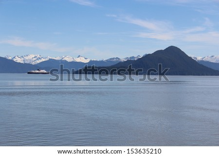 Alaska Ferry in Island Landscape - stock photo