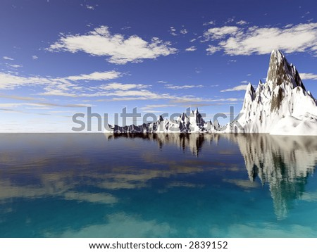 Alaska icebergs with reflections in a tropical blue ocean - stock photo