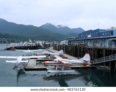 Alaska, Juneau, seaplanes on the pier