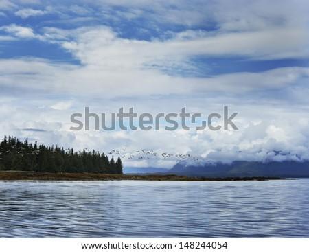 Alaska Landscape With A Blue Sky And Seagulls - stock photo