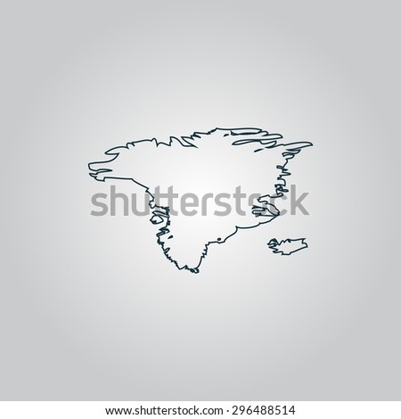 Alaska map. Flat web icon, sign or button isolated on grey background. Collection modern trend concept design style  illustration symbol - stock photo