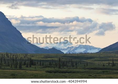 Alaska Range in evening light - stock photo