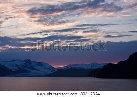 Alaska's Resurrection Bay at Sunset - stock photo