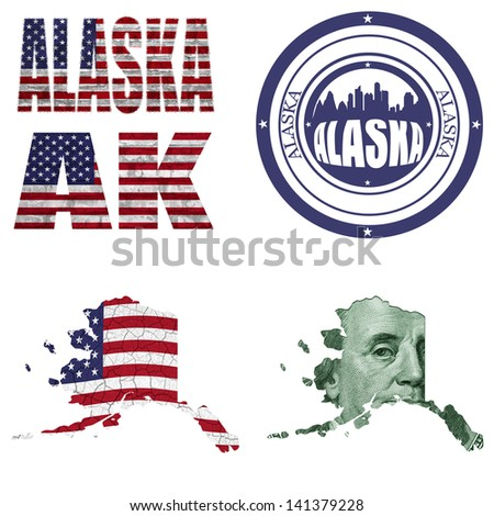 Alaska state collage (map, stamp,word,abbreviation) in different styles in different textures - stock photo