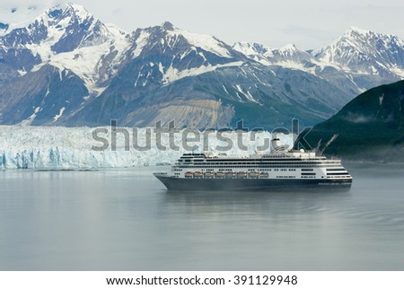 Alaskan cruise ship destination vacation with ice glacier background