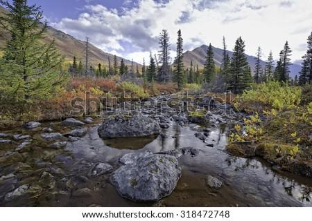 Alaskan Fall Creek - stock photo