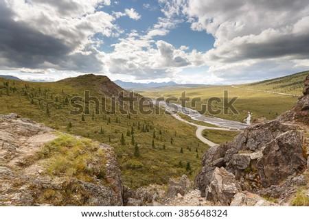 Alaskan landscape of park Denali  - stock photo