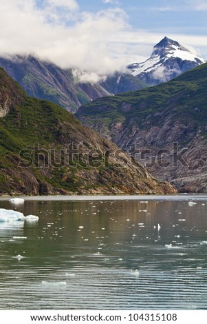alaskan landscape with glaciers in the background - stock photo