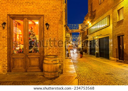 ALBA, ITALY - DECEMBER 30, 2013: Christmas tree behind restaurant door and narrow street illuminated for Christmas and New Year celebrations in popular and famous tourist area in town of Alba.