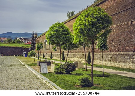 ALBA IULIA, ROMANIA - MAY 6, 2015: The fortification walls (about 12 km in perimeter) and promenades of the bulwark fortress of Alba Iulia, built between 1715 and 1738.