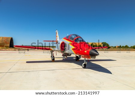 ALBACETE, SPAIN-JUN 23:  Aircraft CASA C-101 taking part in a static exhibition on the open day of the airbase of Los Llanos on Jun 23, 2013, in Albacete, Spain