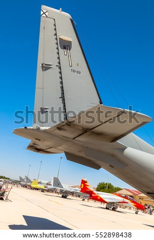 ALBACETE, SPAIN-JUN 23: Aircraft CASA C-295 taking part in a static exhibition on the open day of the airbase of Los Llanos on Jun 23, 2013, in Albacete, Spain