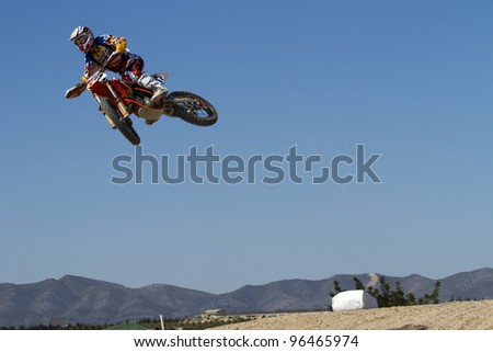 ALBAIDA, SPAIN - FEBRUARY 26: Jose Antonio Butron pilot of motorcycling in the Spanish championship of motocross on February 26, 2012, Albaida, Spain