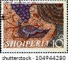 ALBANIA - CIRCA 1970: A stamp printed in Albania shows Mosaics,  Birds and Grapes, circa 1970 - stock photo