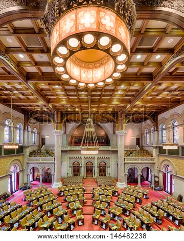 ALBANY, NEW YORK - JUNE 27: Assembly chamber (House of Representatives) in the New York State Capitol building on June 27, 2013 in Albany, New York  - stock photo