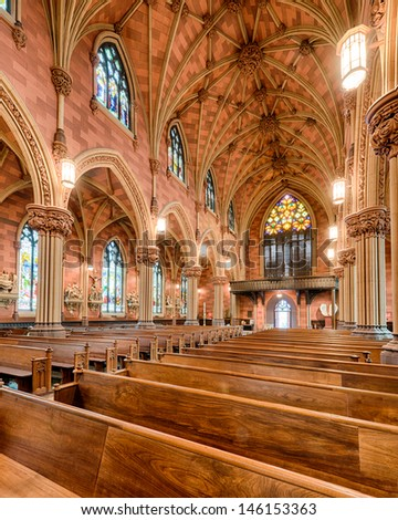 ALBANY, NEW YORK - JUNE 28: Interior of the Cathedral of the Immaculate Conception on June 28, 2013 in Albany, New York
