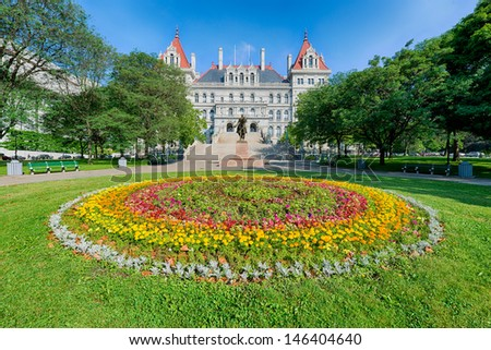 ALBANY, NEW YORK - JUNE 27: New York State Capitol building on State Street on June 27, 2013 in Albany, New York