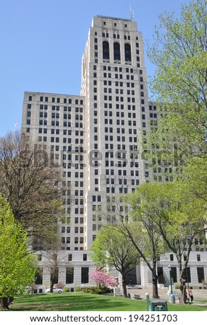 ALBANY, NEW YORK - MAY 11: Alfred E. Smith Building in Albany, New York, as seen on May 11, 2014. The Art Deco skyscraper has 34 stories and at 388 feet is Albany's second tallest structure.