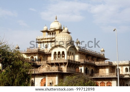 Albert Hall, Jaipur. Albert Hall is located in the Ram Niwas Garden in Jaipur. It houses the central Museum. - stock photo