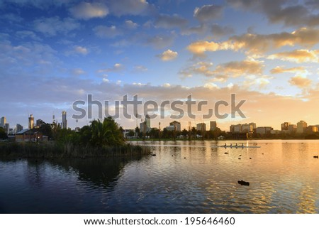 Albert Park Lake sunrise rowers