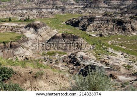 Alberta badlands. Horseshoe Canyon near Drumheller, Alberta, Canada. - stock photo