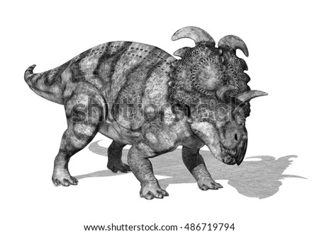 Albertaceratops dinosaur - 3d render with special shaders used to create the appearance of a pencil drawing.
