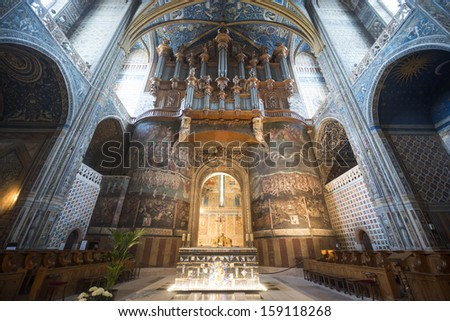 ALBI, FRANCE - JULY 8, 2013: Interior of the Sainte-Cecile cathedral in Albi, on July 8, 2013. This medieval church, in gothic style, is a catholic place of worship open to visits.
