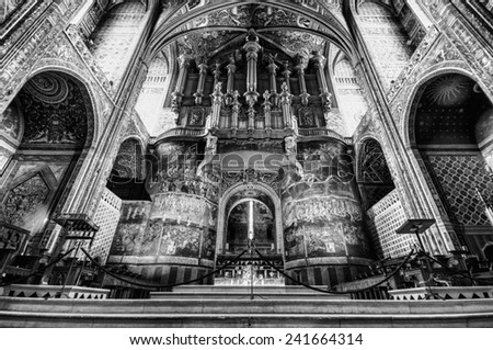 ALBI,FRANCE - JULY  24: View of cathedral on July 24, 2014 in Albi,France. The cathedral was added to the UNESCO list of World Heritage Sites in 2010. - stock photo