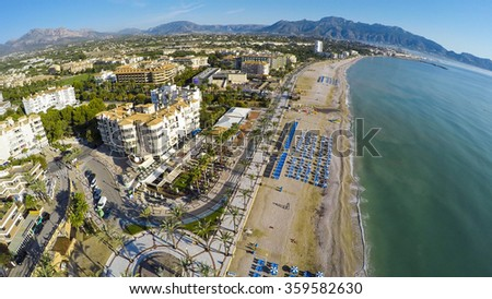 Albir, Aerial view of a sunny morning in Spanish Town along Costa Blanca, near Altea, province of Alicante.  - stock photo