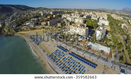 Albir, Aerial view of a sunny morning in Spanish Town along Costa Blanca near Altea, province of Alicante.