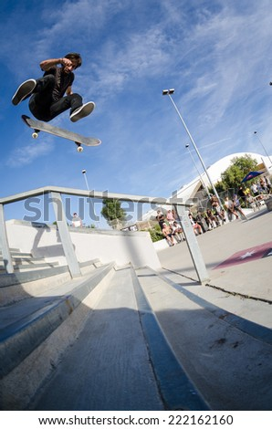 ALBUFEIRA, PORTUGAL - OCTOBER 5, 2014: Nuno Relogio during the 3rd Stage DC Skate Challenge by Fuel TV.