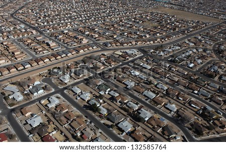 Albuquerque Homes Aerial - stock photo