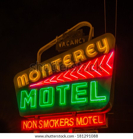 "ALBUQUERQUE, NM/USA - MAY 10, 2013: Historic Monterey Motel and ""Non-Smoking Motel"" neon sign on Route 66."