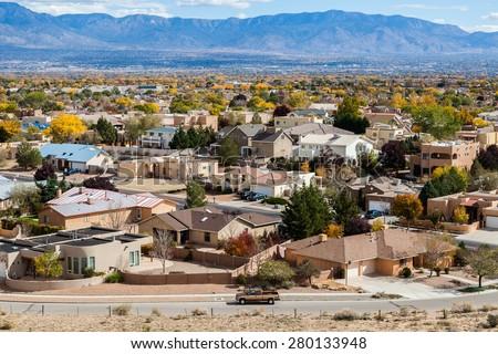 Albuquerque residential suburbs, New Mexico - stock photo