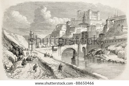 Alcantara bridge and The Alcazar in background, Toledo. Created by Rouargue, published on L'Illustration, Journal Universe, Paris, 1858. - stock photo